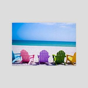 Lounge Chairs On Beach 4' x 6' Rug