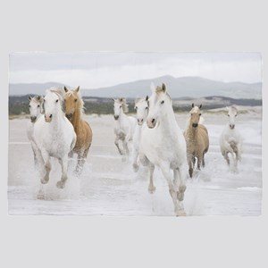 Horses Running On The Beach 4' x 6' Rug