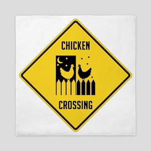 Chicken Crossing Sign Queen Duvet