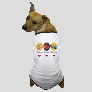 Peace Love Swim Swimmer Dog T-Shirt