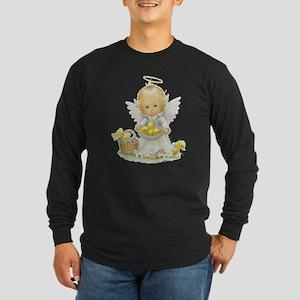 Cute Easter Angel And Ducklings Long Sleeve T-Shir