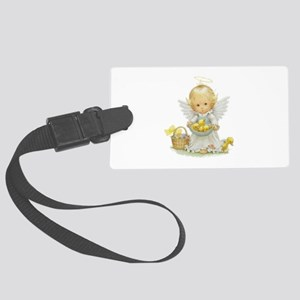 Cute Easter Angel And Ducklings Large Luggage Tag