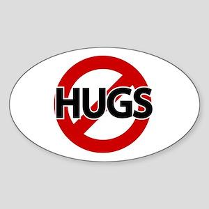 Hugs Not Allowed Oval Sticker