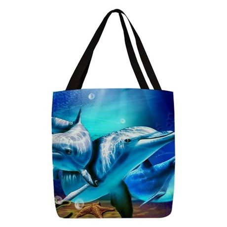 Dolphins Polyester Tote Bag
