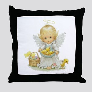 Cute Easter Angel And Ducklings Throw Pillow
