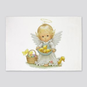 Cute Easter Angel And Ducklings 5'x7'Area Rug