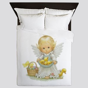 Cute Easter Angel And Ducklings Queen Duvet
