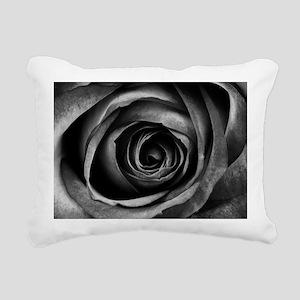 Black Rose Flower Floral Rectangular Canvas Pillow