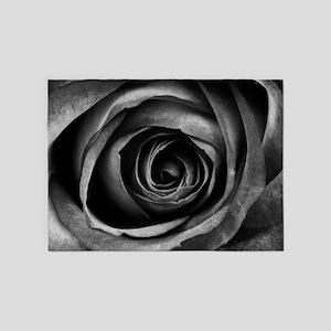 Black Rose Flower Floral Decorative 5'x7'Area Rug