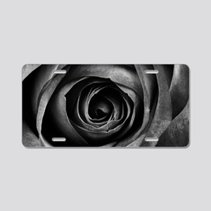 Black Rose Flower Floral De Aluminum License Plate