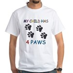 4 Pawed Child White T-Shirt