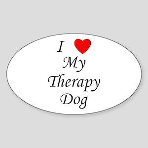 I Love My Therapy Dog Sticker (Oval)