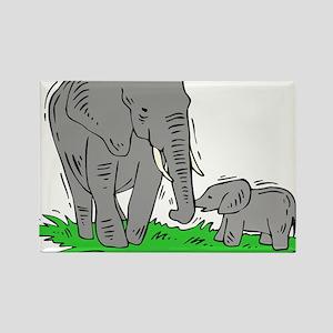 MAMA & BABY ELEPHANT (19) Rectangle Magnet
