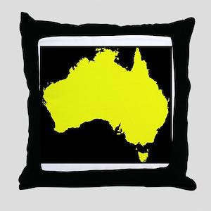 Australia Map Black And Yellow Throw Pillow