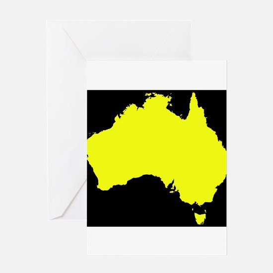 Australia Map Black And Yellow Greeting Cards