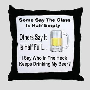 Half Full/Half Empty Throw Pillow