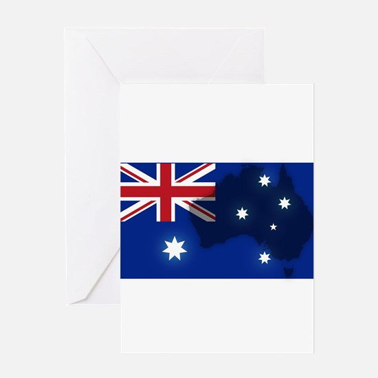 Australian Flag With Map Greeting Cards
