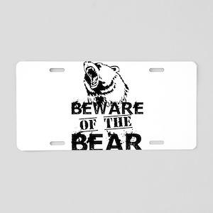Beware Of The Bear Aluminum License Plate