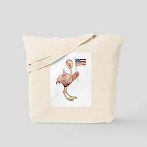 Pink Flamingo USA Flag No. 1 Funny Unique Tote Bag