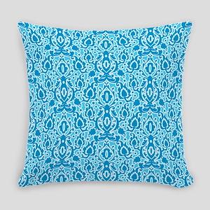 Moroccan Aqua Damask Everyday Pillow