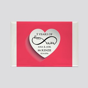Personalized Anniversary Pink Infinity Magnets