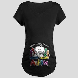 Autism Crayons Maternity Dark T-Shirt