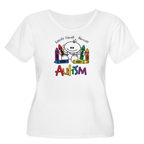 Autism Crayons Women's Plus Size Scoop Neck T-Shir
