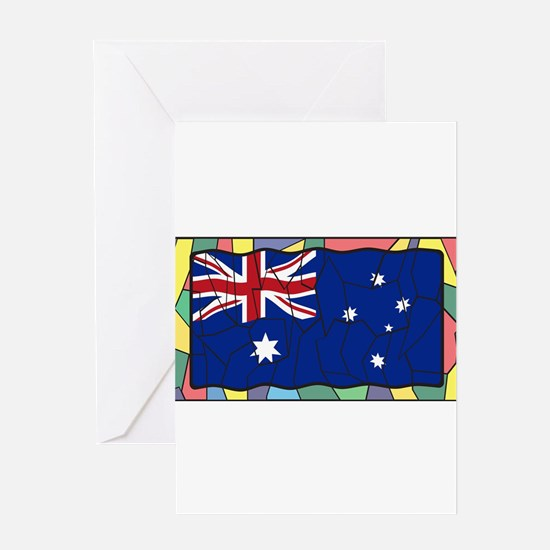 Australia Flag On Stained Glass Win Greeting Cards
