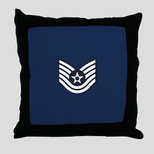 USAF: TSgt E-6 (Blue) Throw Pillow