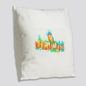 Chateau Frontenac Quebec City Burlap Throw Pillow