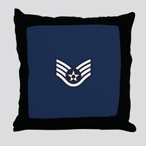 USAF: SSgt E-5 (Blue) Throw Pillow