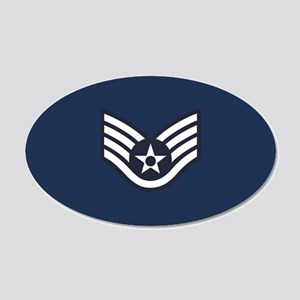 USAF: SSgt E-5 (Blue) 20x12 Oval Wall Decal