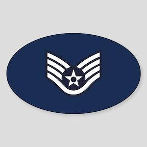 USAF: SSgt E-5 (Blue) Sticker (Oval)