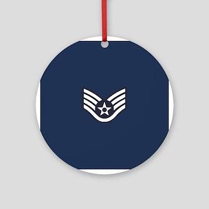 USAF: SSgt E-5 (Blue) Round Ornament