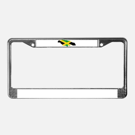 Jamaica Flag map License Plate Frame
