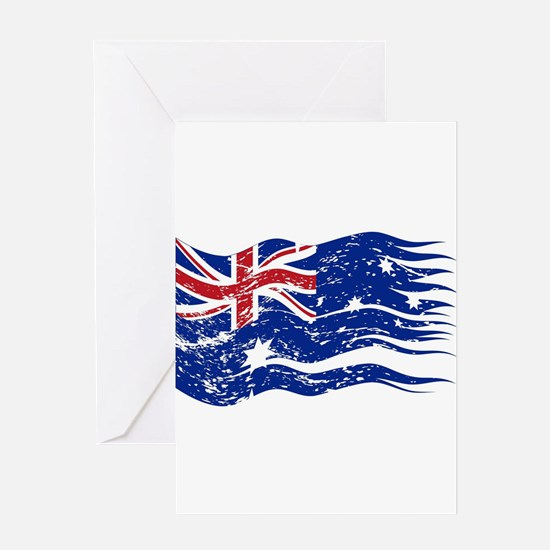 Australian Flag Ripped And Grunged Greeting Cards