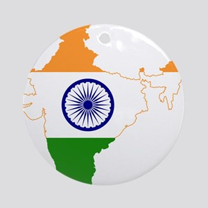 Indian Flag Map Round Ornament