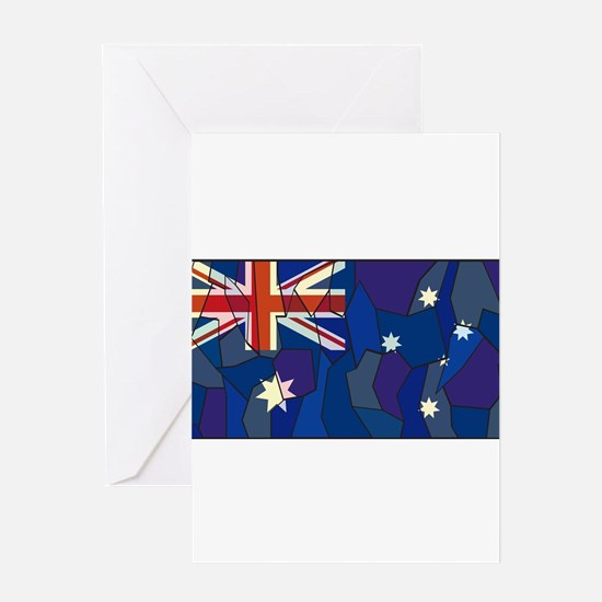 Australia Flag Stained Glass Window Greeting Cards