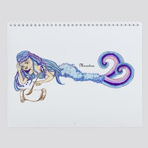 Merartsea painting blue & purple Wall Calendar