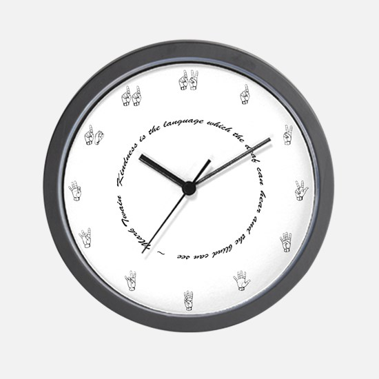 Wall Clock - round saying& fingerspelled numbers