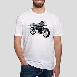Triumph Thruxton Motorbike Blue Fitted T-Shirt