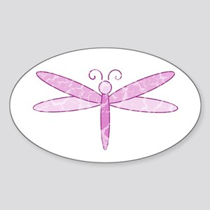 Pink Dragonfly Oval Sticker