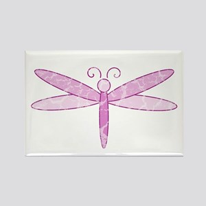 Pink Dragonfly Rectangle Magnet
