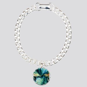 Abstract Blue Oil Painti Charm Bracelet, One Charm