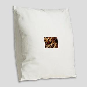 Ball Python coils Burlap Throw Pillow