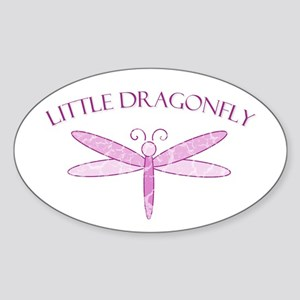 Little Pink Dragonfly Oval Sticker