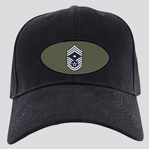 USAF: CMSgt E-9 (Green) Black Cap with Patch