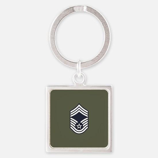 USAF: CMSgt E-9 (Green) Square Keychain