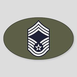 USAF: CMSgt E-9 (Green) Sticker (Oval)