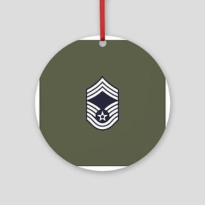 USAF: CMSgt E-9 (Green) Round Ornament